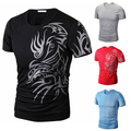 New Arrival Men Summer Fashion O-Neck Short Sleeve Tattoo Pattern Print Casual T-Shirt