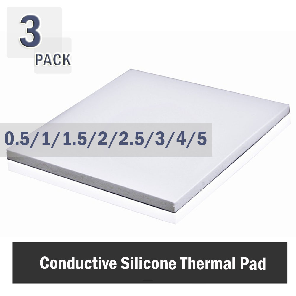 3Pcs 100x100mmThermal Pad 0.5mm 1mm 1.5mm 2mm 3mm 4mm 5mm CPU Heatsink Pad Cooling Conductive Silicone Pad Thermal Pad White