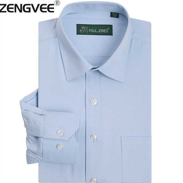Classsical Men's Brand Dress Shirts Solid Twill Long Sleeve Easy Care Camisa Masculina Plus Size 5 XL