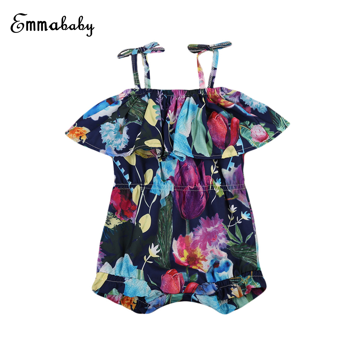 Little Girls Off-shouder Strap Floral Rompers Toddler Baby Kid Girl Sling Flower Romper Outfits 1Piece Clothes
