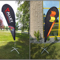 120cm*380cm FREE SHIPPING Custom Single Side Printing Teardrop Banners Flags with Cross Water Bag Any Design Color Logo