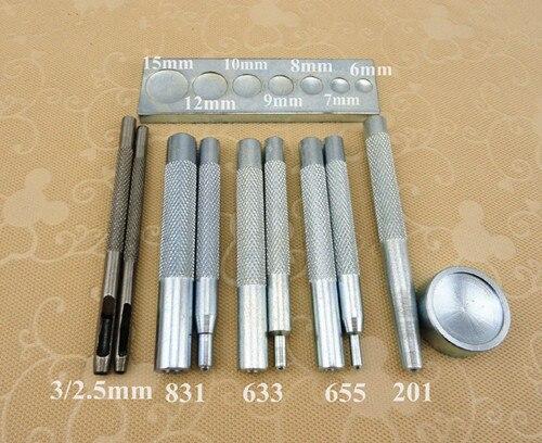 11PCS set Metal Leather Craft Tool Die Hole Punch Snap Fastener Installation Kit Rivet Setter Base