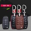 Flip Folding Remote Key Covers For Kia Carens K5 K4 K3 K3S 2014 Sorento Accessories 3 Button Genuine Leather Auto Key Case CB128