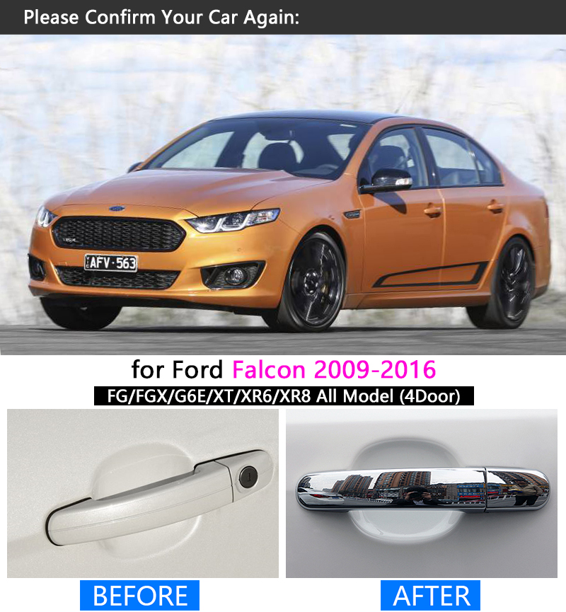 For ford falcon fg 2009 2016 chrome handle cover trim set fgx g6e xr6 xr8 xt car accessories stickers car styling 2010 2011 2015 in car stickers from