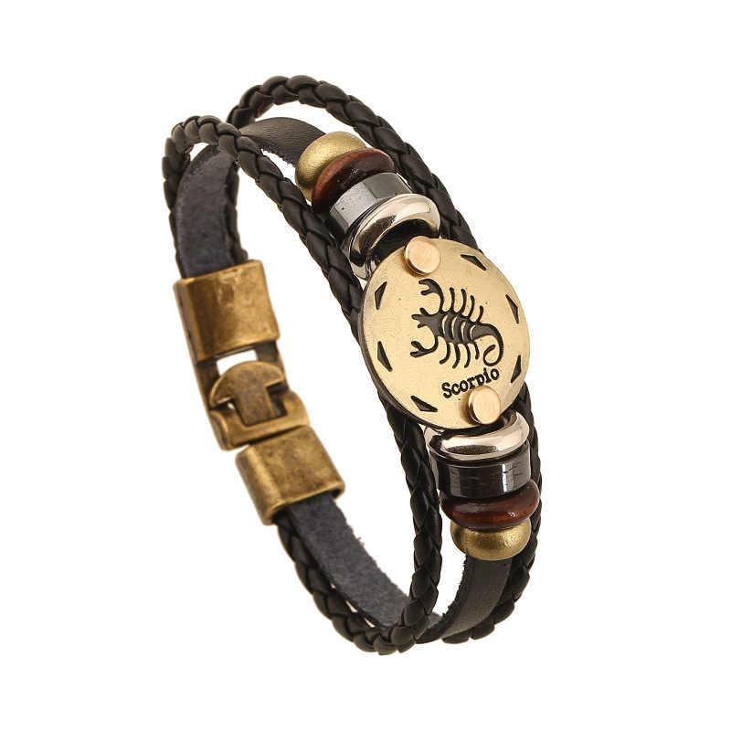 12 konstelacje bransoletka męski zodiak horoskop znaki skórzana bransoletka mężczyzn w stylu Vintage Punk dla kobiet bransoletki dla par i bransoletka