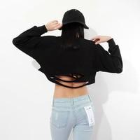 Momoluna 2017 Woman hollow out cropped crop top hoodie hoodies sweatshirt jumper sweat femme kawaii clothes sudadera