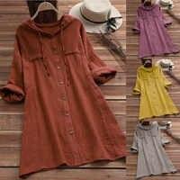 Nueva moda mujer Casual botón talla grande algodón Tops camiseta con capucha bolsillo blusa suelta verano cuello redondo tops #40