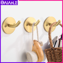 лучшая цена Robe Hook Brass Gold Coat Hook Rack Wall Mounted Decorative Bathroom Hooks for Towel Key Bag Hat Clothes Hangers Creative