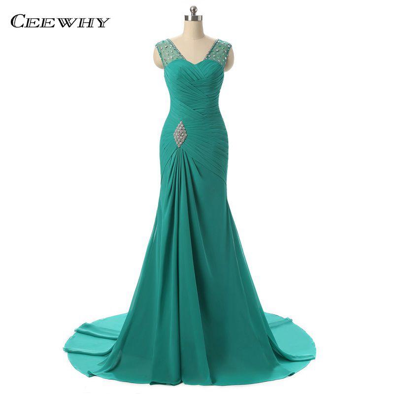 CEEWHY Vestido de noche de gasa turquesa Sirena Vestidos de baile Vestidos de noche formales Vestidos con cuentas Vestidos Mujer Robe de Soiree