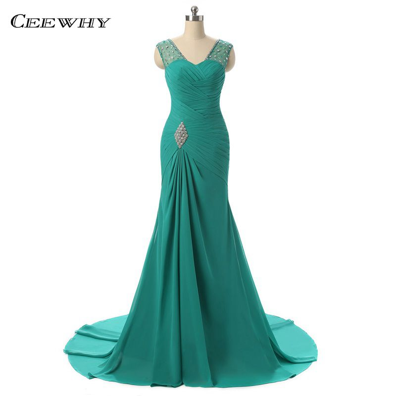 CEEWHY Turquoise Chiffon   Evening     Dress   Mermaid Prom   Dresses   Formal   Evening     Dresses   Beaded Gowns Vestidos Mujer Robe de Soiree