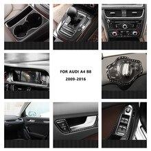 Cubierta de Panel de navegación Interior, embellecedora pegatina, para Audi A4, 2009, 2010, 2011, 2012, 2013, 2014, 2015, 2016, de fibra de carbono para portavasos