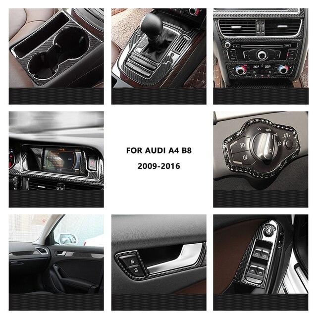 For Audi A4 2009 2010 2011 2012 2013 2014 2015 2016 Carbon Fiber Interior Water Cup Holder Navigation Panel Cover Sticker Trim