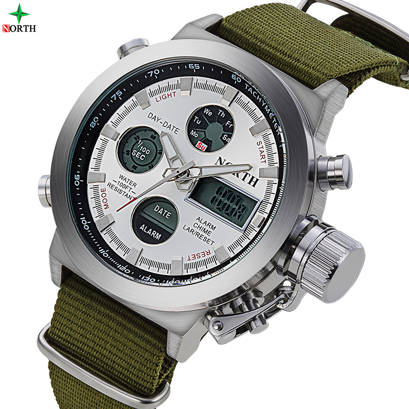 Fashion Army Cool Men Military Watch Canvas Strap Hours Steel Case 30 ATM Waterproof Stopwatches Sports Casual LED Outdoor Clock weide new men quartz casual watch army military sports watch waterproof back light men watches alarm clock multiple time zone