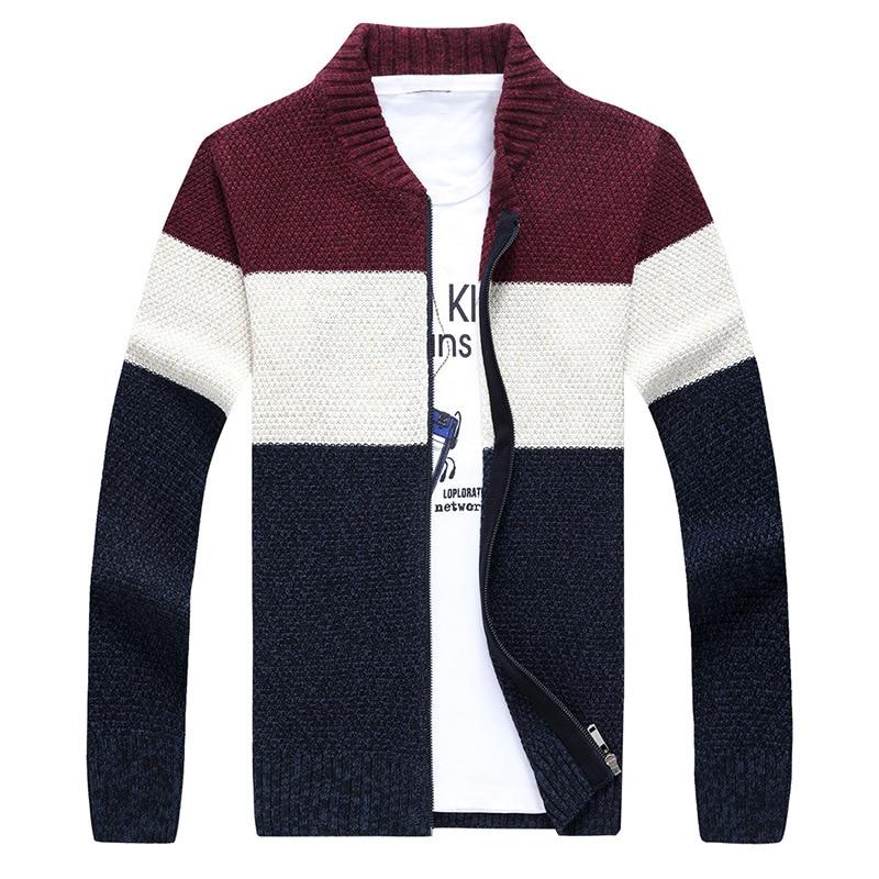 2018 Autumn Winter Men Sweater Cardigan Casual Slim Knitted Striped Men Sweaters Coats