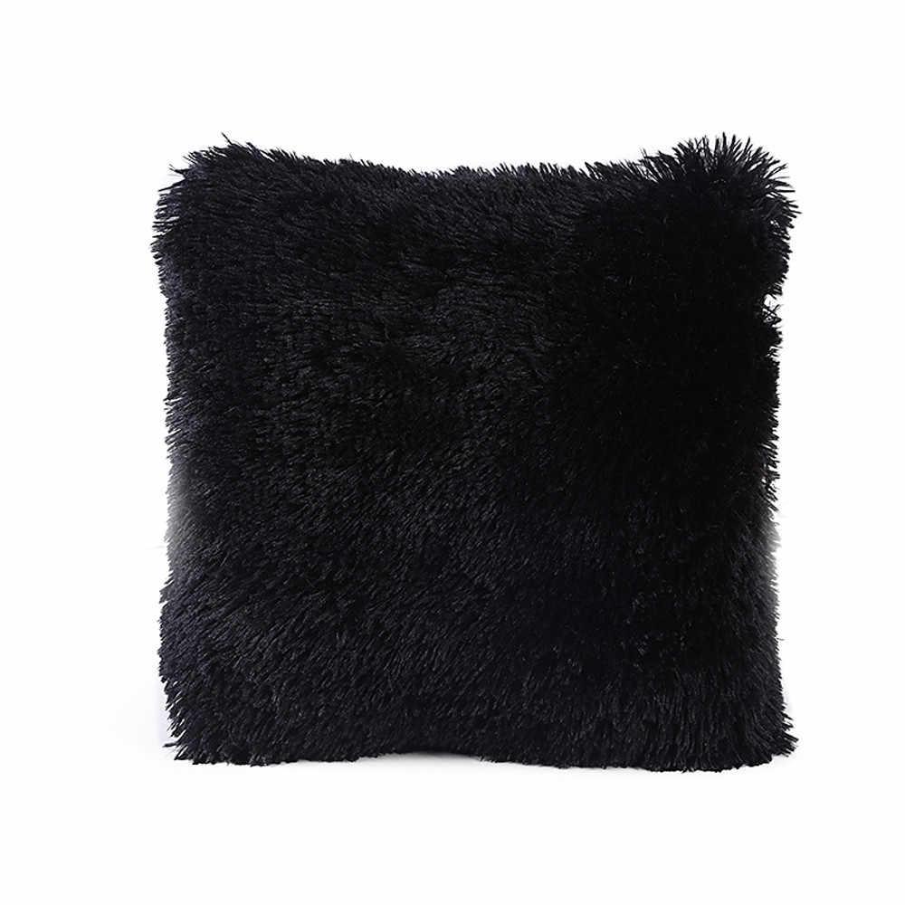 Baru Bantal Putih Solid Lembut Mewah Bulu Imitasi Sofa Pinggang Melempar Bantal Cover Bantal Cover untuk Sofa Mobil Kursi Hotel rumah N0823