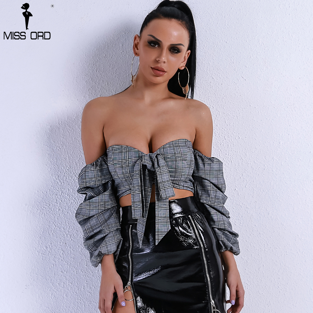 Missord 2018 Women Sexy Long Sleeve Bowknot Off Shoulder Backless Fold Solid Color Short Top FT9195