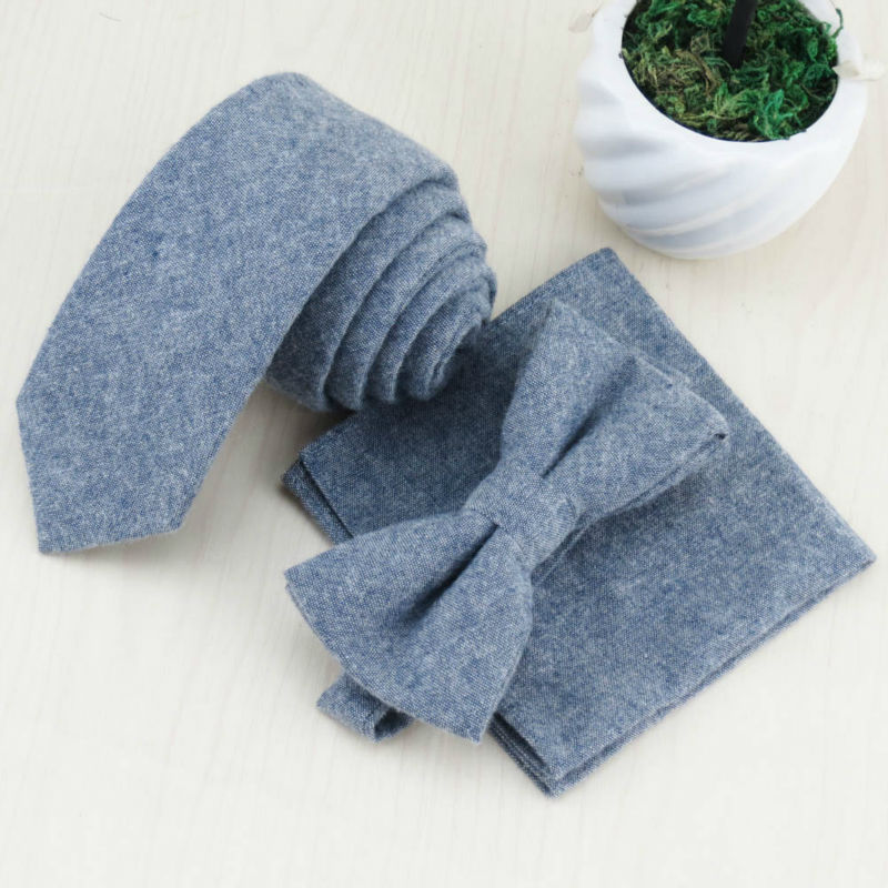 Han edition of gray cotton business narrow tie bow tie face cloth/Very upscale gentleman/Suitable for men