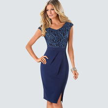 Vintage Work Office Business Side Split Dress Summer Elegant Flower Lace Patchwork Sheath Slim Bodycon Pencil Dress HB431