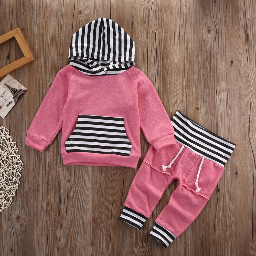Kids Baby 2PCS Clothes Set Boy Girl Long Sleeve Hooded Tops +Pants Outfits