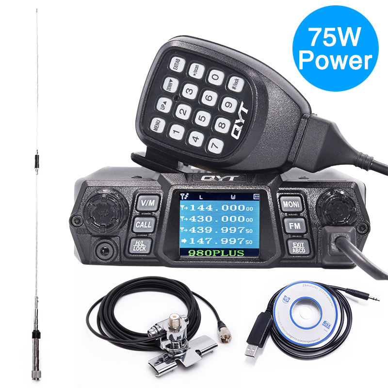 QYT KT 980 плюс высокая Мощность ful 75 Вт (VHF)/55 Вт (UHF) Dual Band Quad ожидания KT 980Plus автомобильного радио мобильной радиосвязи Любительское радио, Си Би р