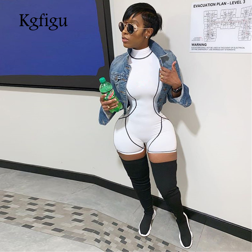 KGFIGU 2019 Summer high neck sleeveless patchwork white playsuit body mujer Casual skinny short   jumpsuits   sexy streetwear