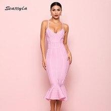 Seamyla, новинка, летнее Бандажное платье, розовое, красное, черное, синее, Русалочка, платья знаменитостей для вечеринок, Женские Элегантные платья, сексуальное облегающее платье