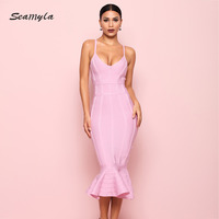Seamyla New Summer Bandage Dress Pink Red Black Blue Mermaid Celebrity Party Dresses Women Elegant Vestidos Sexy Bodycon Dress