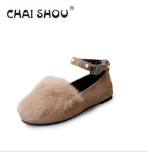 Women 's new solid color plus velvet flat – bottomed single – round head pearl plush shoes Zapatos