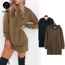 Oversized Hoodie Dress Poleron Mujer 2019 Plain Hooded Punk Sweatshirt Kangaroo Pocket Hoodie Drawstring Women Tunic Long Sleeve