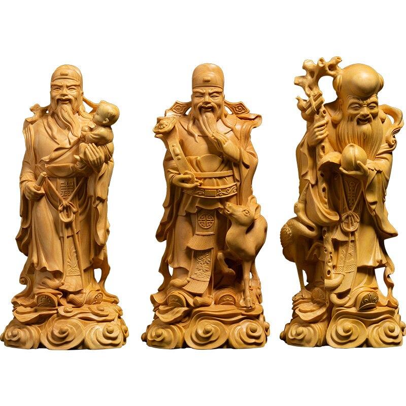 Three Fortuna Buddha statue Fu Lu shou three star gods Chinese home decoration crafts solid wood