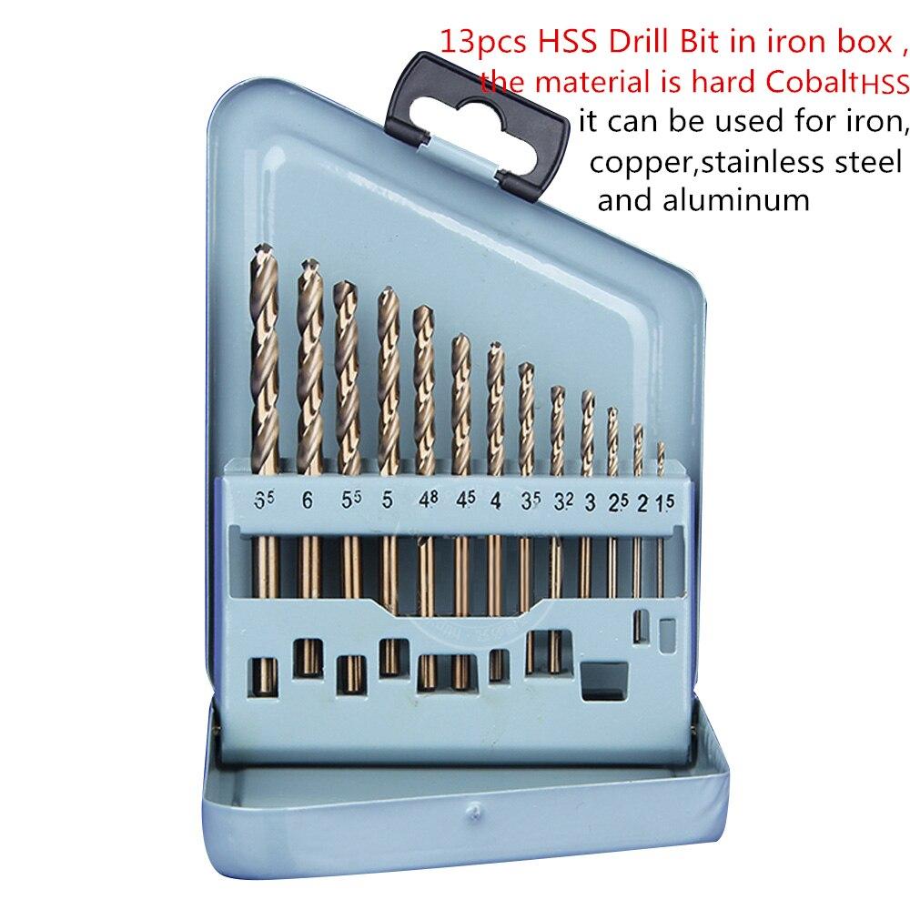 Wholesale 13pcs/lot Hard Tungsten Cobalt HSS Drill Bit 1.5mm-6.5mm for Dremel Hole Saw Iron Copper Aluminum Stainless Steel  цены