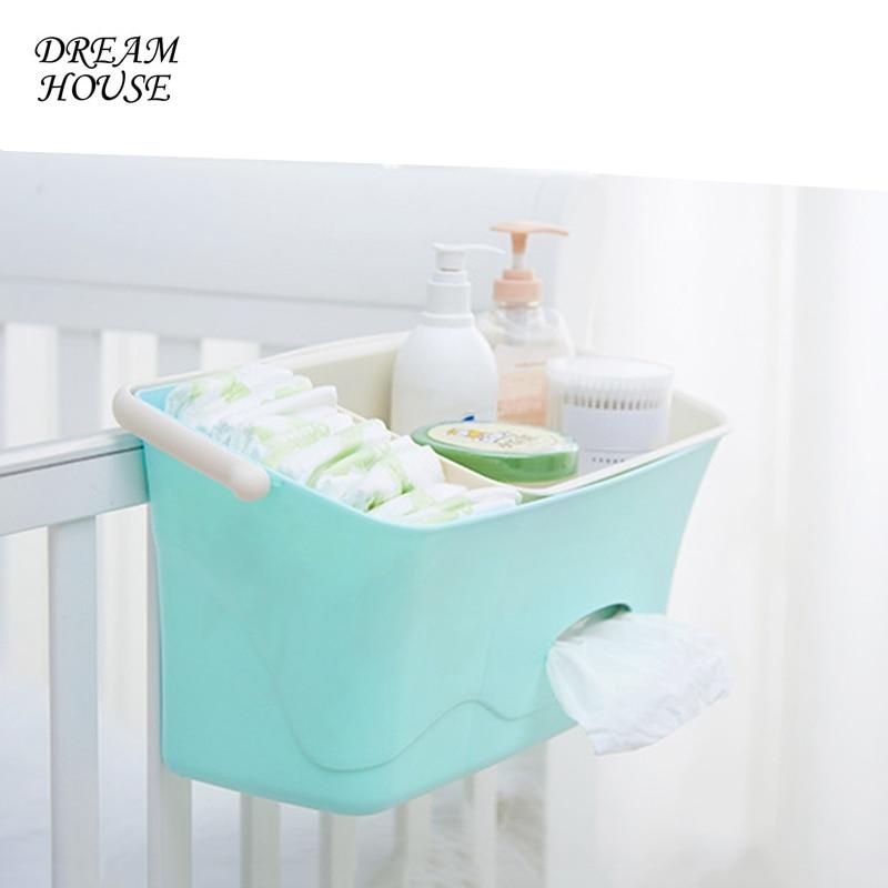 Bed Hanging Storage Box Baby Diaper Nappy Organizer Cot Organizer Newborn Toy Feeding Bottle Storage Bag for Crib Bedding Set