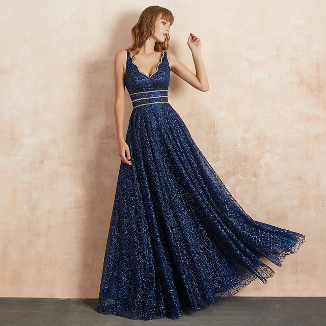 VKBRIDAL Long Evening Gowns Elegant Homecoming Party Dresses V Neck Tulle Sparkle Crystal Luxury Evening Dress 2019