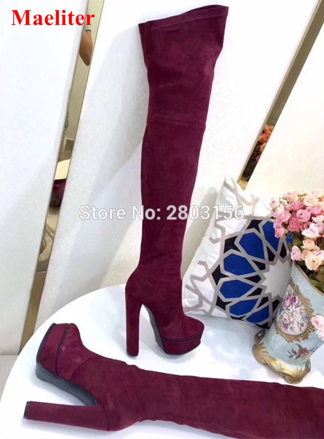 Maeliter Wine red Suede Leather Boots Sexy over the knee high women boots women's fashion platform thigh high boots shoes woman yougolun ladies fashion thigh high over the knee boots woman autumn winter womens female sexy nubuck suede leather women shoes