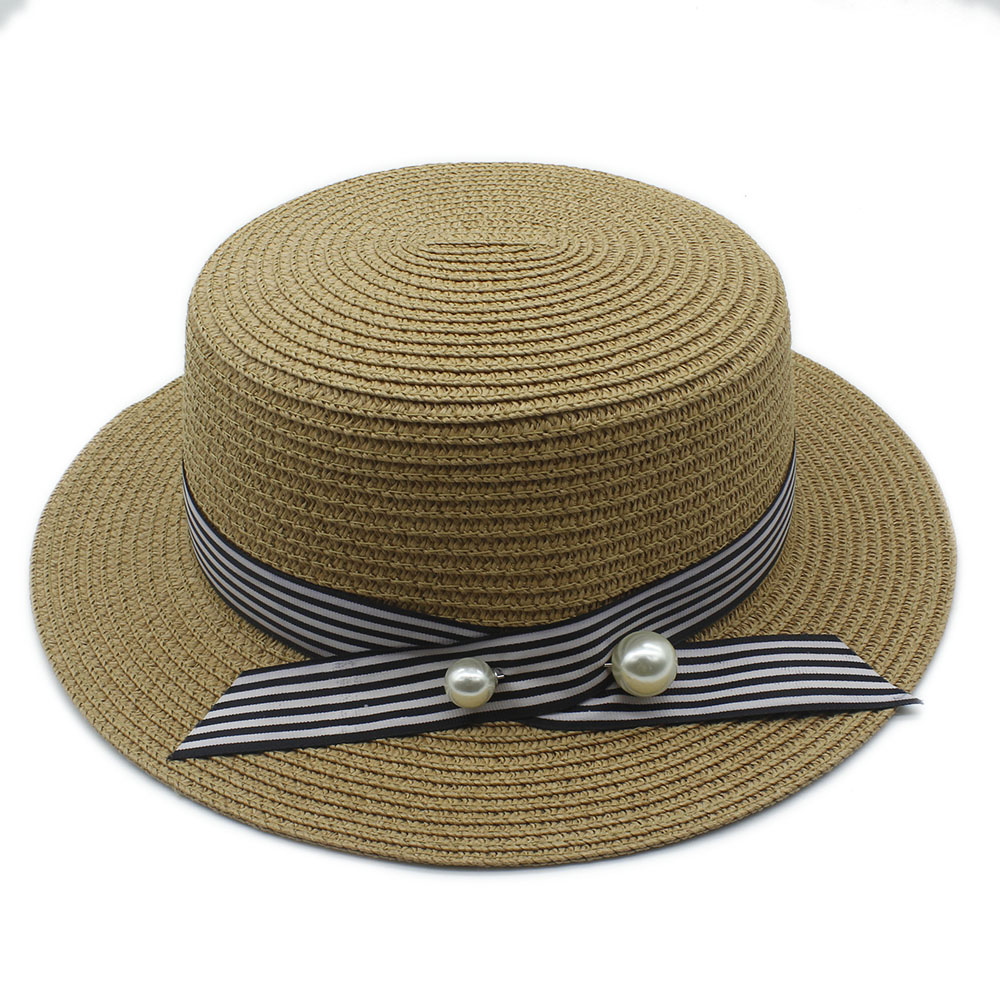 2017 Fashion Lady Boater Sun Caps Round Stripe Flat Top Straw Fedora Panama  Hat Summer Hats For Women Straw Hat 40-in Sun Hats from Apparel Accessories  on ... e0a790ca876c
