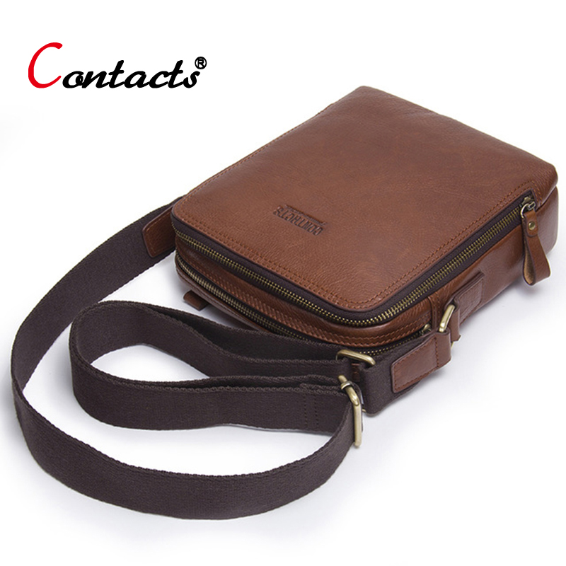 Contact's Genuine Leather Bag Men Shoulder Crossbody Bags For Men Messenger Bag Men Leather Handbag Male Cross Body Bags Small