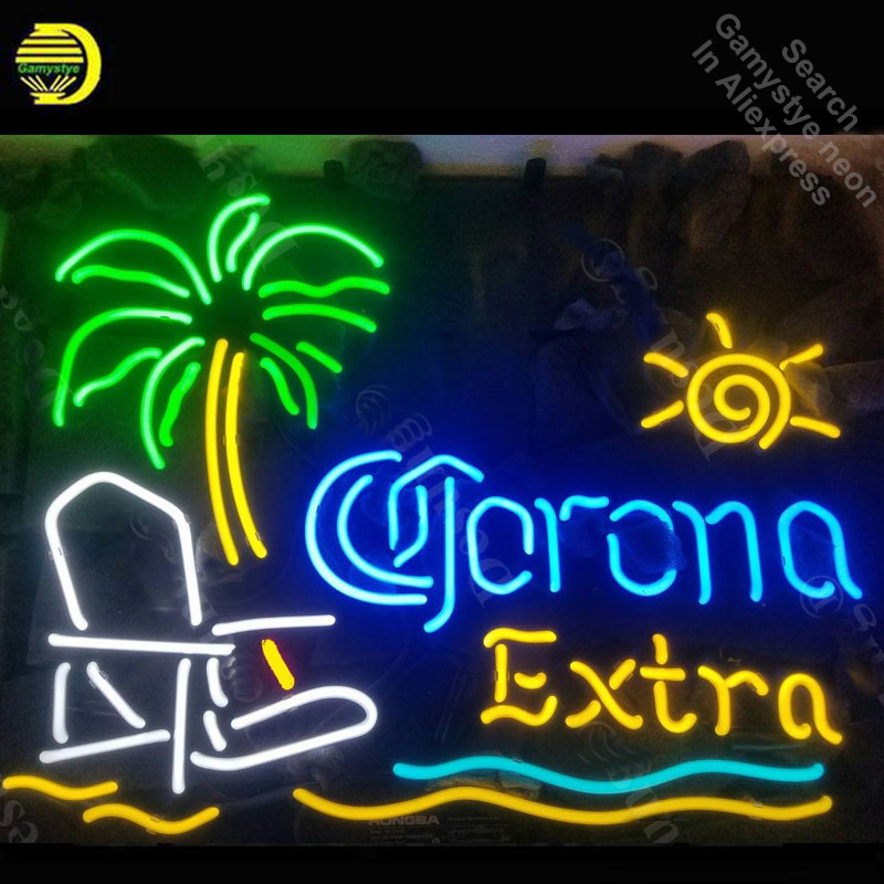 Corona Extra Palm Tree Beach Chair Sun Neon Sign neon bulb Sign light Sign glass Tube Handcraft light Bright Color Characteri
