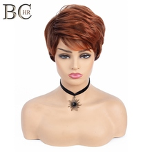 BCHR Short Wig Dark/Red Orange Synthetic Wigs with Side Bang Dark Roots Ombre Wig for Women Natural Wave Hair