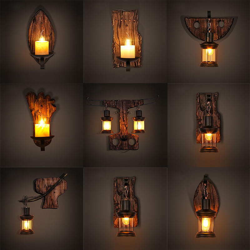Indoor outdoor industrial led wall lights vintage lighting fixtures surface mounted classic led wall lamp wood + metal black