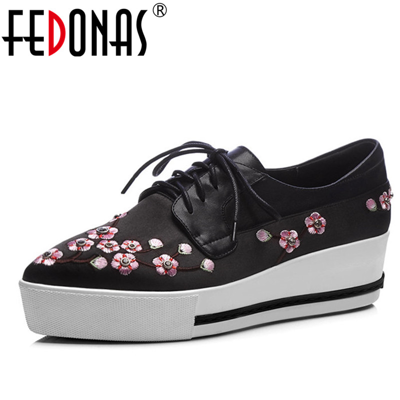 FEDONAS Women Platforms Flats Genuine Leather+Cloth Shoes Lace Up Brand Retro Embroider Female Spring Autumn Casual Shoes Woman vintage embroidery women flats chinese floral canvas embroidered shoes national old beijing cloth single dance soft flats