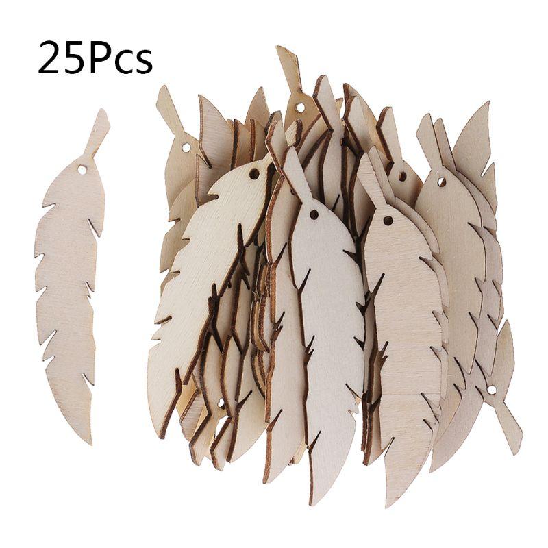 OOTDTY 25pcs Laser Cut Wood Feather Embellishment Wooden Shape Craft Wedding Decor