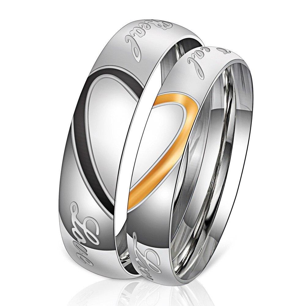 Мужское кольцо из нержавеющей стали с кубическим цирконием, обручальное кольцо с уникальным сердечком, ювелирные украшения для пар, обруча...