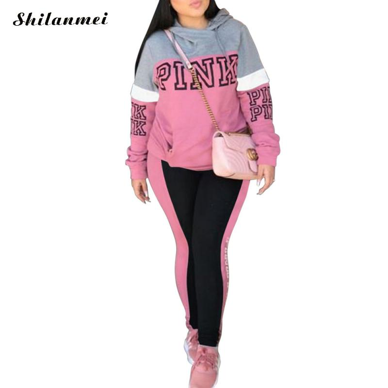 Autumn 2 Pcs Sportswear Women Tracksuit Casual PINK Letter Print Sexy Sweat Suits Patchwork Hoodies+ Skinny Pants