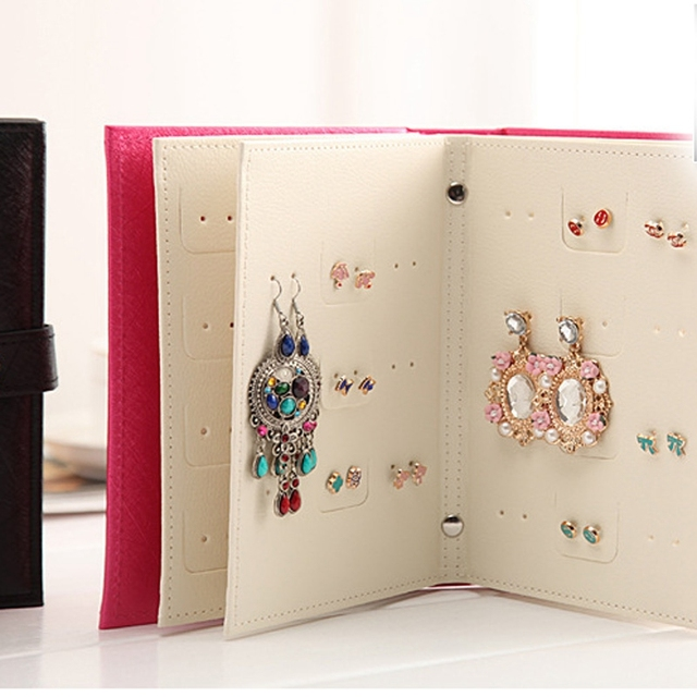 Earring Book Travel Portable Jewelry Display Case Makeup Storage Box Case Ring Holder Boite Rangement Page & Earring Book Travel Portable Jewelry Display Case Makeup Storage Box ...