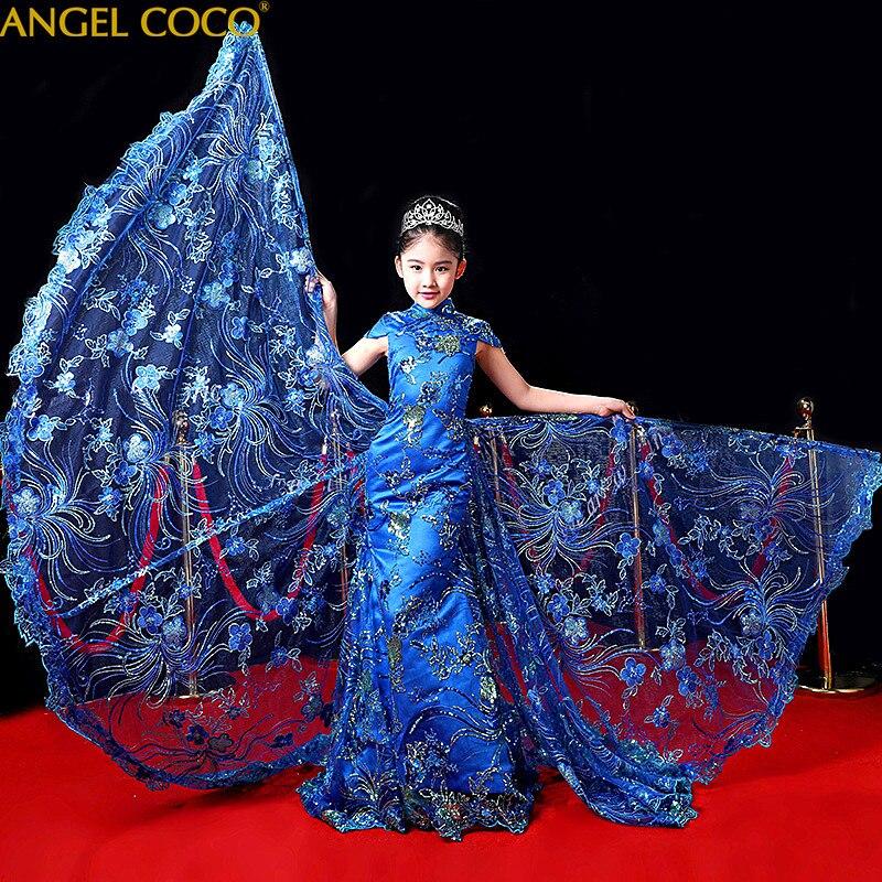 Роскошное аристократическое вечернее платье принцессы для выступлений на сцене; детское свадебное платье с цветами; Карнавальный костюм для детей