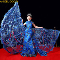 Luxury Custom Aristocratic Princess Evening Dress Stage Performances Flowers Children's Wedding Dress Carnival Costume For Kids