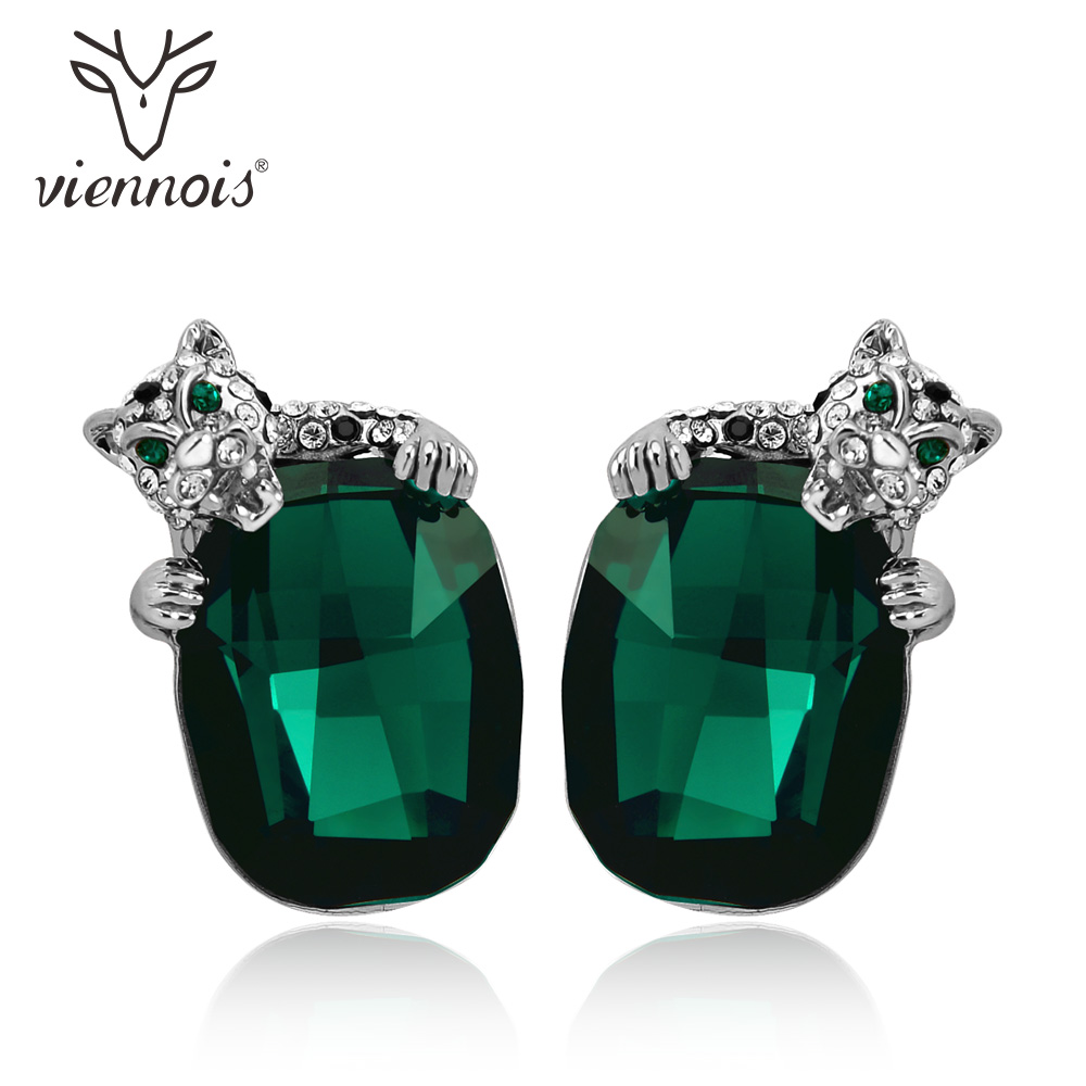 Viennois Green/Blue Crystals Leopard Stud Earrings For Women Fashion Rhinestone Wedding Party Earrings Jewelry copper jewelry leopard head hanging pearl stud earrings tiger head green rhinestone black stud earrings for women