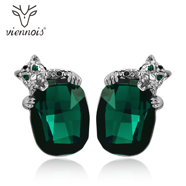 Viennois Green Blue Crystals Leopard Stud Earrings For Women Fashion Rhinestone Wedding Party Jewelry