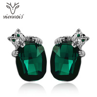 Viennois Green/Blue Crystals Leopard Stud Earrings For Women Fashion Rhinestone Wedding Party Earrings Jewelry
