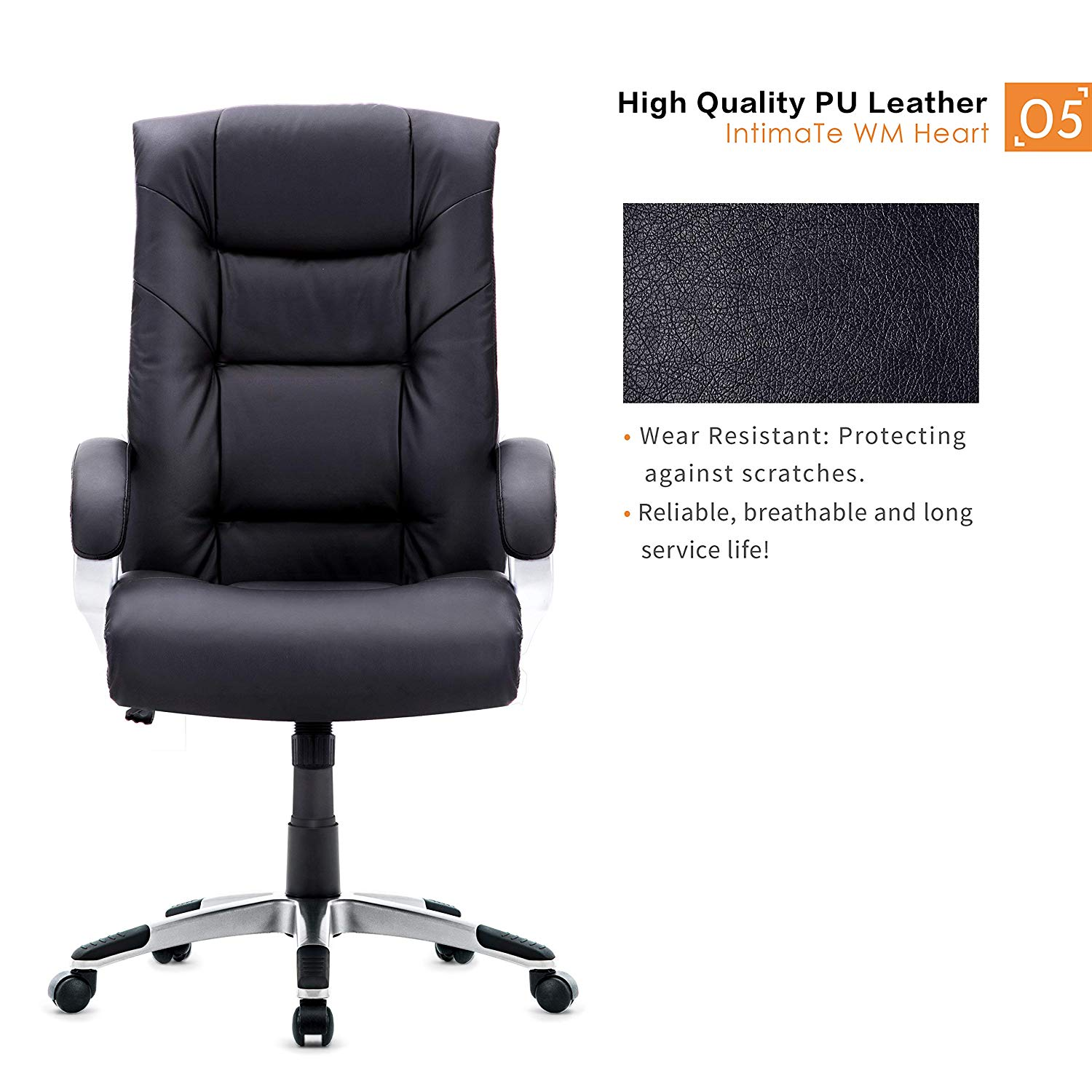 Groovy High Back Executive Office Chair Faux Leather Large Seat Computer Chair Ergonomic Design Adjustable Seat Height Wcg De Short Links Chair Design For Home Short Linksinfo